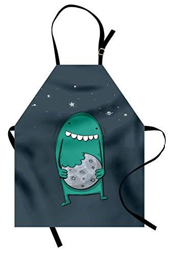 Grembiule per biscotti, mostro di cartone animato con denti affilati che morde la scuola materna dolce, grembiule da cucina unisex con collo regolabile per cucinare la cottura da forno, azzurro pallid