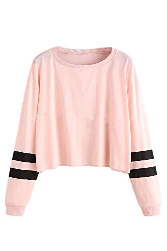 Frauen Sweatershirt Lange Ärmel Sport Pullover Crop Top Perfect Rundhals T-Shirts Oberteile Style (Color : Pink, Size : L)