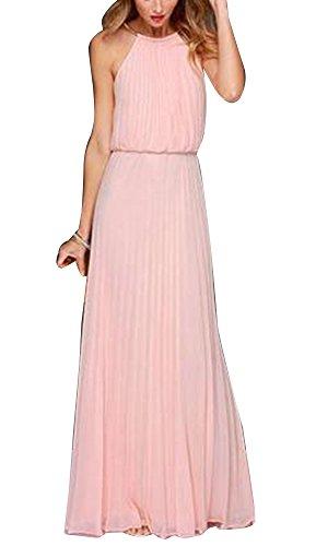 Mujer Vestidos Fiesta Largos Sin Manga De Gasa Para Ceremonia Cuello  Colgante Coctel Partido Vestido Pink 25c48d46284d