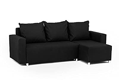Oslo Corner Sofa Bed with Underneath Storage in Black Linen Fabric by Abakus Direct