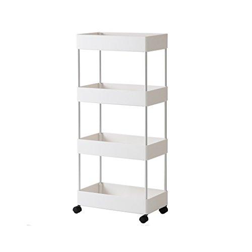Dongyd Weißes Aluminium-Eckregal - 89 cm * 39,7 cm * 21,6 cm - Bad-WC-Bodenständer - abnehmbare Gestelle - Küchenregal mit Rädern -4 Tier