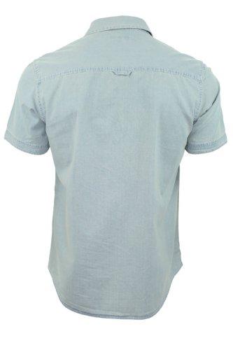 Brave Soul Herren Shirt 'Global' Jeans Gewaschen Kurzärmelig Leichte Denim
