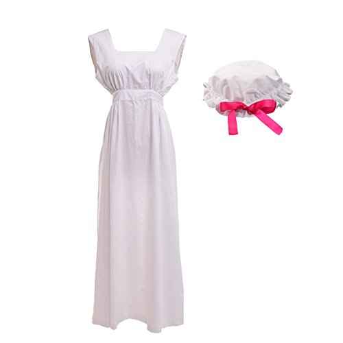 GRACEART viktorianisch Schürze Schürze mit Mob Mütze100% Baumwolle (4 Stile Option) (Stil-2) (Renaissance Maid Kostüm)