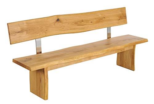 Main Möbel Bank Holz mit Lehne massiv mit Baumkante Eiche 200cm Amber