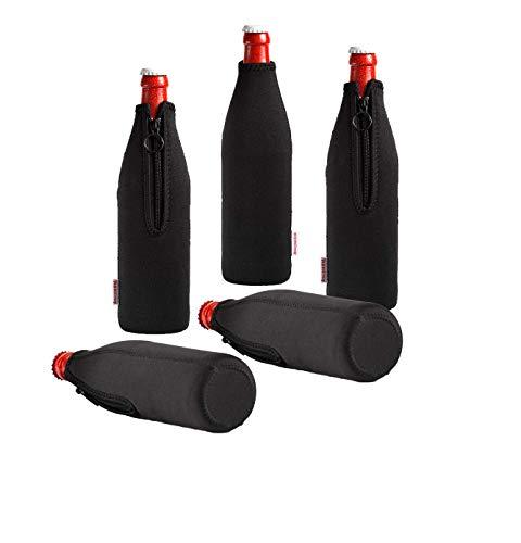 DRESS-YOUR-DRINK Neopren Flaschenkühler, Weinkühler, Getränkekühler (5er Spar-Set 0.5 Liter, Schwarz)