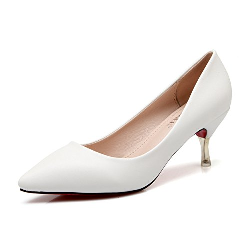Damen Moderne Gemütliche Spitze Kurzschaft Kitten Heel Slip On Populäre Modische Klassiche Niedrige Absatz Pumps Sandalen Weiß