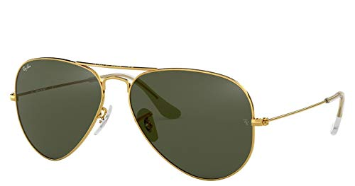 Ray-Ban RB3025 Aviator Sunglasses (58 mm, Gold Metal Frame/Non-Polarized Green G-15 Lens)