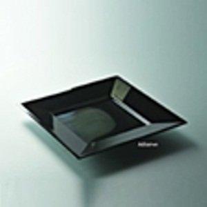 12 assiettes jetables carrées plastique couleur noire 18cm - Adiserve -