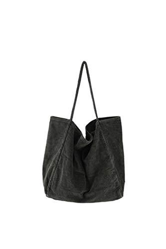 Howoo Damen Groß Cord Retro Schultertasche Beiläufig Handtasche Mode Einkaufstasche Grün -