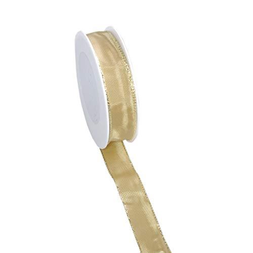 Taftband mit Draht- und Goldkante - Lurexkante - Sand - schmal - Geschenkband - Dekoband - Schleifenband - ca. 25 mm Breite - 25 m Länge - 3331-25-25-955 (Silberne Hochzeit Sand)
