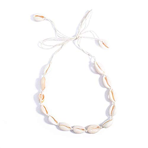 Bohemian Vintage Natural Shell Stück Regel Halskette, Damen Schmuck Retro Kreative Kinderschmuck für Mädchen Frauen Hochzeitstag Party/Einfache Sexy Anhänger für Frauen, Mädchen, Damen (Weiß)