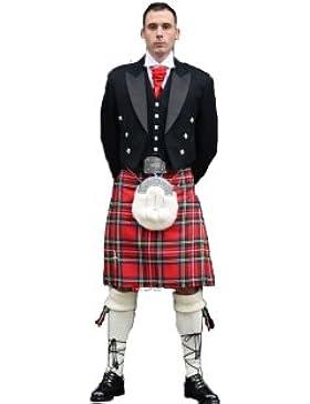 Gents Scottish Kilt Full 8 Yard 24in Drop Waist 54-56 Colour Stewart Royal Tartan