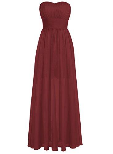 Bbonlinedress Lang Chiffon Lace Herzform Prom Brautjungfern Kleid Abendkleider Burgundy
