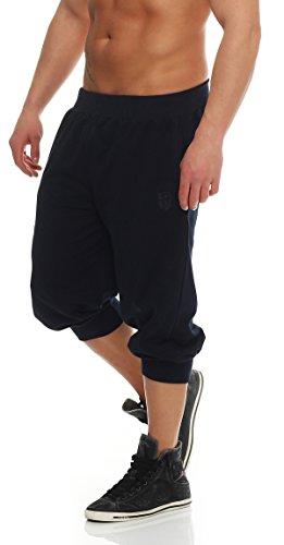 Gennadi Hoppe Herren 3/4 Trainingshose Jogginghose Bermuda Pant (4XL, blau) (Männer Hose 3 4)