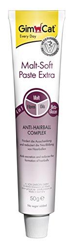 GimCat Malt-Soft Paste Extra – Ballaststoffreicher Katzensnack mit Anti-Hairball Complex – Fördert Ausscheidung und Neubildung von Haarballen – 1 Tube (1 x 50 g)