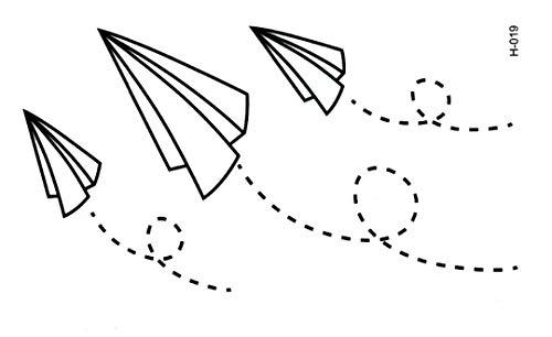 Tatouage éphémère avion en papier 10.5 * 6 cm