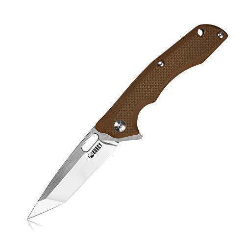 Kubey Klein EDC Klappmesser mit Taschenclip [KU154] Taschenmesser Tanto D2 Stahlklinge Pocket Knife, Kugellager Flipper | Kompaktes Outdoor&Survival Messer | Einhandmesser mit G10griff (Braun)