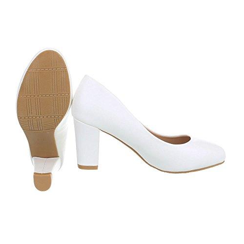 Ital-Design Scarpe da Donna Scarpe Col Tacco Tacco Gattino Classico Scarpe Col Tacco bianco HS36