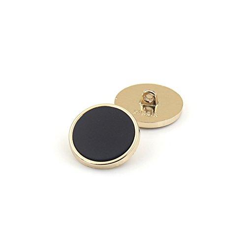 Schwarz Flach Oberfläche mit gold Rand Metall Knopf für Blazer passt Fell Uniform, 16mm/20mm 10Stück, Gold + Black, 25 (Gold Passt Und Schwarz)