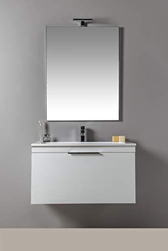 MOBILIA, Neve - Mobile da bagno con LAVABO e SPECCHIERA BIANCO, MODERNO, SOSPESO con cassettone da 70 cm
