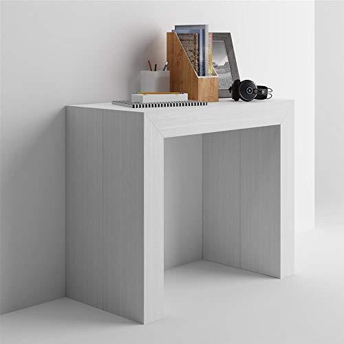Mobilifiver tavolo consolle allungabile angelica, bianco frassino, 45 x 90 x 76 cm, nobilitato/alluminio, made in italy