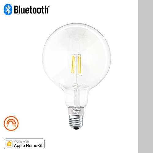Osram Smart+ Lampadina LED a Filamento Bluetooth Compatibile con Apple Homekit e Android. Globo, E27, 50 W Equivalenti, Dimmerabile