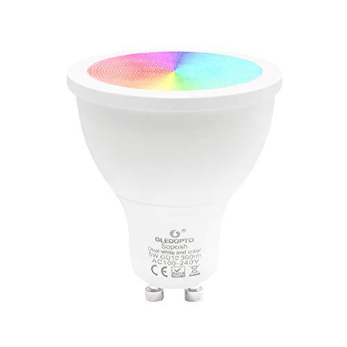 Lilideni GLEDOPTO AC100-240V 5W RGB + Blanco y Blanco cálido Bombilla  Inteligente (versión Zigbee) Soporte de zócalo GU10 Base Compatible Control