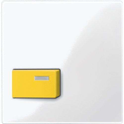 Merten, 451619, Piastra centrale per Abstelltaster, giallo, bianco lucido, Sistema (Ge Elettrico Piastra)
