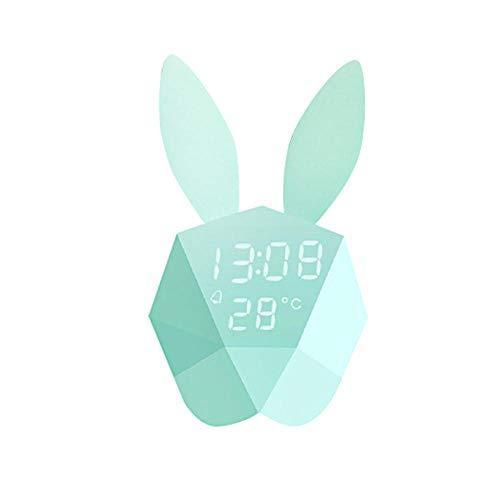 FPRW Digital-Wecker, geführte kreative Kaninchen-Form-Tabellen-Schreibtisch-Uhr, Nachtlicht-Schlummerwecker