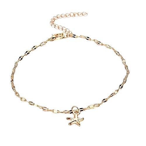 Cwemimifa Jewellery Tobillera de aleación con Forma de Estrella de mar, Tobillera con Cadena para la Playa, Tobillera para Mujer Oro