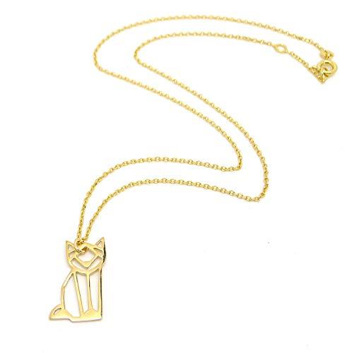 Les Bijoux Acidulés - Halskette Katze Origami vergoldet 3 Mikron - Schmuck Tiere für Damen oder Jugendliche, Mädchen
