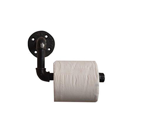 BZEI-HOLDER Badezimmerzubehör Toilettenpapierhalter Wandregal Eisen Wasserrohr für Badezimmer Home Dekorative Display Schwimmständer Loft Retro Industrial Style 19 cm L-Form WC-Rollenpapierhalter für