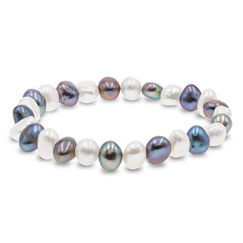 Bracciale secret & you con perle coltivate d'acqua dolce barocche bianche o colorate - le perle sono 8-9 mm 22 perle in totale -18cm di fascia elastica | disponibile in diversi colori