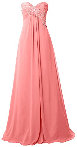 MACloth Women Strapless Empire Long Prom Dress Chiffon Formal Party Evening Gown Blush Pink