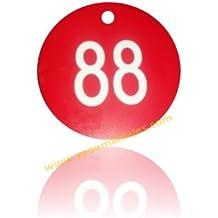 Juego de 100 fichas para guardarropas, en 35 mm. de diámetro, en Rojo y texto Blanco, numeradas del 001 al 100.
