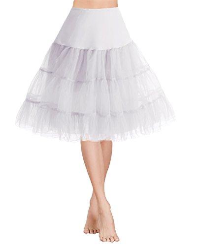 Gardenwed 1950 Petticoat Vintage Retro Reifrock Unterrock für Wedding Bridal Rockabilly Weihnachten Kleid White S