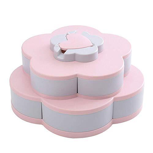 Genießen Sie Life-Bloom Snack Box, Snack Tray blütenförmige rotierende Pralinenschachtel Double (Pink) (Bloom Box)