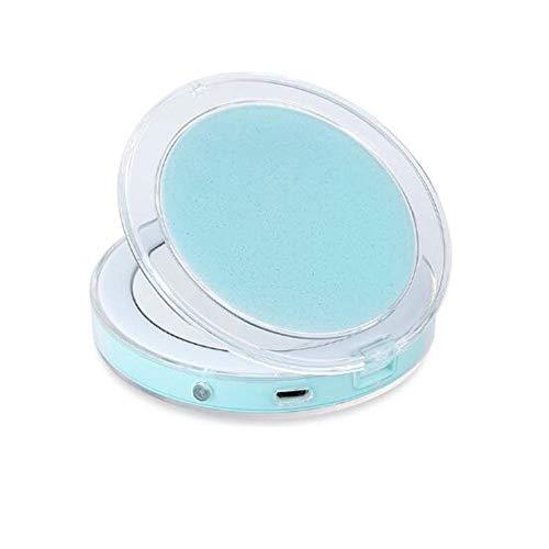Qnlly Nachtlicht Induktiver LED-Kompaktspiegel, 3-fache Vergrößerung, zusammenklappbar, Tageslicht, tragbarer, doppelseitiger Reise-Schminkspiegel,Blue