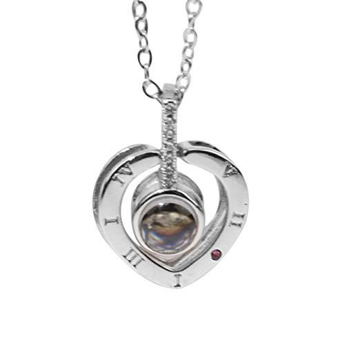 Amoyl Damen Halsketten Mit Herz Geformt Ich Liebe Dich In 100 Sprachen Projektions Halsketten Kette Zur Erinnerung An Die Liebe Memorial Day Geschenk (Silber)