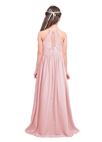 915121b1e97 Freebily Enfant Long Robe De Soirée Cocktail Fille Dentelle Fleur Costume  De Cérémonie Mariage Fille Robe ...