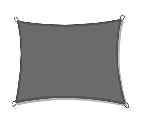 Hausratplus Sonnensegel UV50+ dreieckig, rechteckig verschiedene Größen und Farben (2m x 3m, grau)