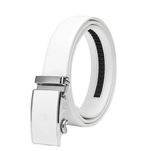 Ground Mind Cinturón de trinquete blanco Cinturones de cuero genuino ajustables con cinturón de hebilla deslizante automático(Blanco,44'')