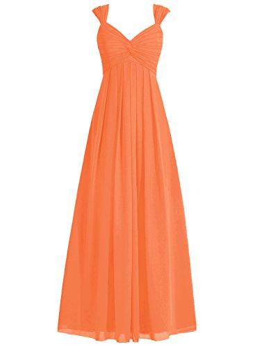 Dresstells Robe de cérémonie Robe de demoiselle d'honneur forme empire avec bretelles longueur ras du sol Orange