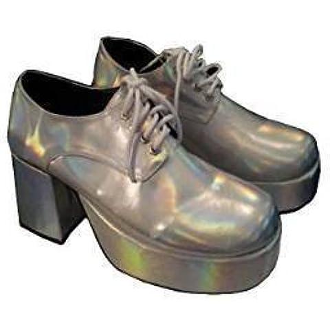 Años 60 Plata Zapatos De Plataforma para hombre Disfraz Retro Glam Rock (GB 9- EU 43)