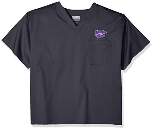WonderWink Unisex-Erwachsene Kansas State University V-Neck Top Krankenhauskleidung, Oberteil, Zinnfarben, X-Small Kansas State University