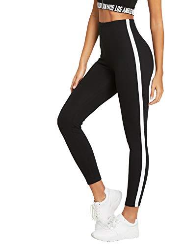 e096d1fbe174 DIDK Damen Leggings Gestreift Kontrast Fitnesshose Hohe Taille Yogahose  Sporthose Leggings mit Streifen Band auf den Seiten Schwarz-Weiß S