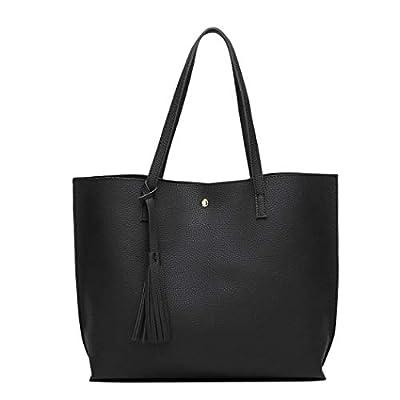 Handbags for Women, Ladies Handbag Tote Bag Soft PU Leather Large Capacity Womens Top Handle Shoulder Bag For women Black Handbag