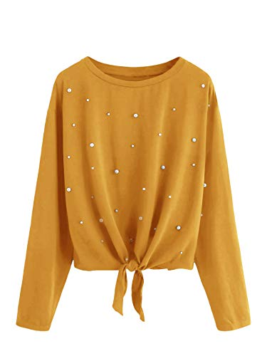 DIDK Damen Pulli Langarmshirts Rundhals T-Shirt Oberteile Pullover mit Perlen und Knoten Gelb M