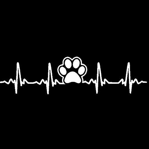 VT BigHome Auto-Aufkleber, 17,7 cm x 4,5 cm, Motiv: Hundepfotenabdruck, EKG Heartbeat Silber