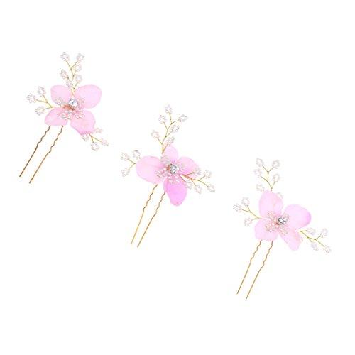 MagiDeal Haarnadeln Blüte Hochzeit Braut Haarschmuck Blumenhaarnadel Kommunion Haarpins Brautschmuck Set/3Stück - Rosa